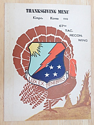 1952 67th Tac. Recon. Wing Thanksgiving Menu