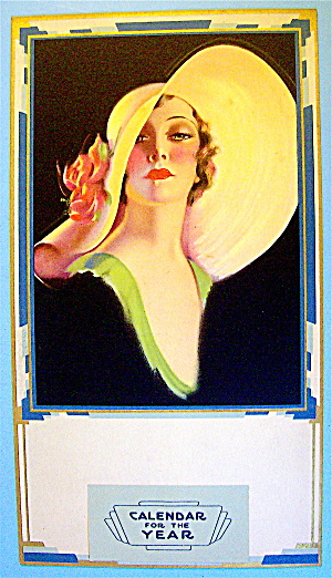 Lithograph Of Lovely Woman Calendar Top 1930's