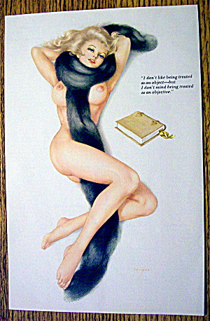 Alberto Vargas Pin Up Girl October 1970 Woman & Fur