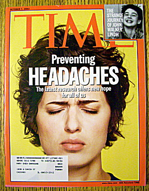 Time Magazine October 7, 2002 Preventing Headaches