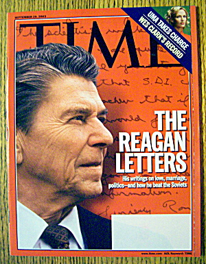 Time Magazine September 29, 2003 The Reagan Letters