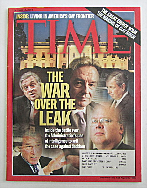 Time Magazine October 13, 2003 War Over The Leak