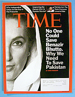 Time Magazine January 14, 2008 Benazir Bhutto
