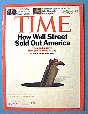 Time Magazine September 29, 2008 Wall Street Sold Out