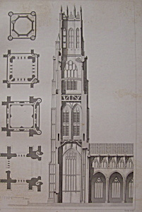 Eglise De St Botolph, A Boston  (1852 Lithograph) (Image1)