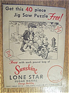 Vintage Ads - 1930's Sunshine Lone Star Wafer Puzzle