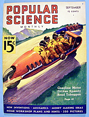 Popular Science Magazine September 1936 Road Toboggan (Image1)