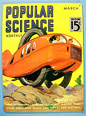 Popular Science Magazine March 1938 2 Wheeled Car