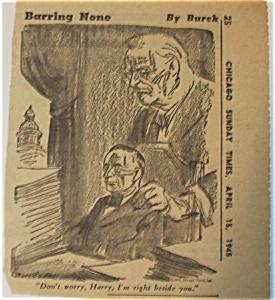 Political Cartoon - April 15, 1945 Roosevelt's Death (Image1)