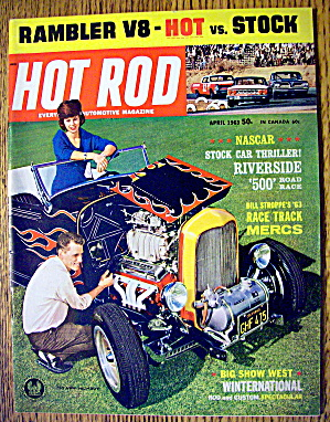 Hot Rod Magazine April 1963 Nascar & Rambler V-8