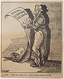 Political Cartoon - 1946 Uncle Sam and Social Security (Image1)