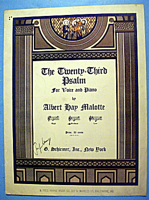 Sheet Music For 1937 The Twenty Third Psalm