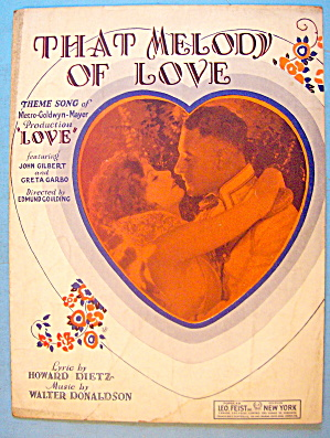 That Melody Of Love Sheet Music 1927 Dietz & Donaldson