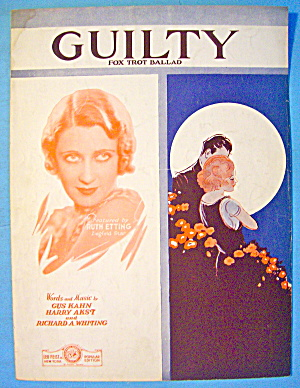 Guilty Sheet Music 1931 Kahn, Akst & Whiting
