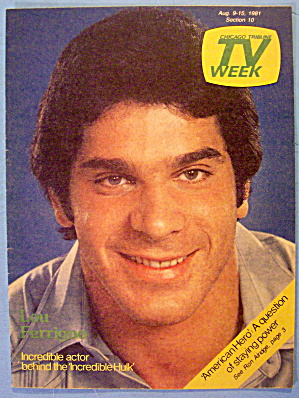 Tv Week August 9-15, 1981 Lou Ferrigno-incredible Hulk