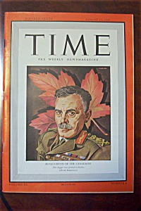 Time Magazine Aug 10, 1942 Mcnaughton Of The Canadians