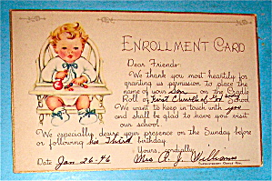 1946 Enrollment Card Postcard (Image1)