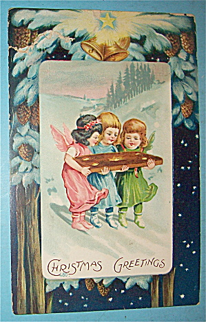 Christmas Greetings Postcard With Three Little Angels (Image1)