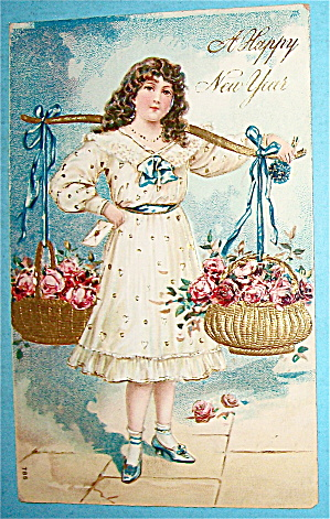 Young Lady Carrying Two Baskets Of Flowers Postcard (Image1)