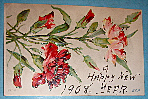 Happy New Years Postcard with Lovely Floral Design (Image1)