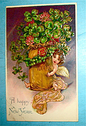A Happy New Years Postcard with Angel & Pot Of Flowers (Image1)