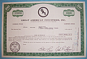 1971 Great American Industries 100 Shares Stock (Image1)