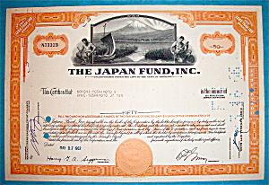 1962 Japan Fund Stock Certificate (Image1)