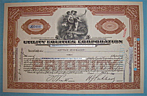 1941 Utility Equities Corporation Stock Certificate (Image1)
