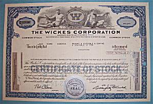 1973 Wickes Corporation Stock Certificate (Image1)