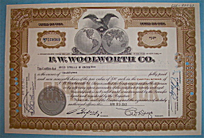 1943 F. W. Woolworth Co. Stock Certificate (Image1)