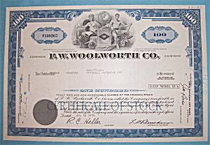 1974 F. W. Woolworth Co. 100 Shares Stock (Image1)