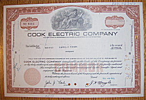 1971 Cook Electric Company Stock Certificate (Image1)