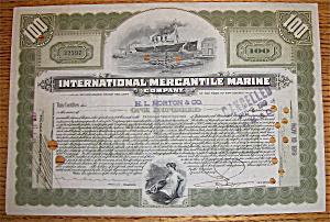 1902 International Mercantile Marine 100 Shares Stock (Image1)