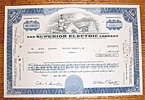 1975 Superior Electric Company Stock Certificate (Image1)