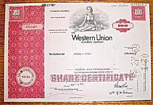Western Union Telegraph Company Stock Certificate
