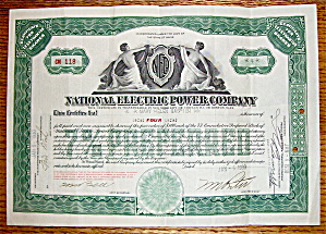 1930 National Electric Power Company Stock Certificate (Image1)