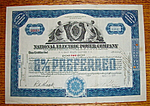 1928 National Electric Power Company Stock Certificate (Image1)