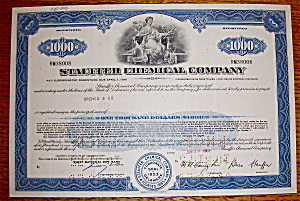 1969 Stauffer Chemical Company Stock Certificate (Image1)