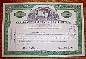 1954 Canada General Fund Limited Stock Certificate (Image1)