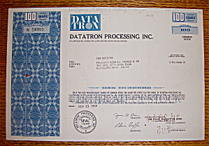 1969 Datatron Processing Incorporated Stock Certificate (Image1)