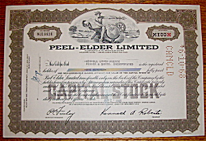 1966 Peel Elder Limited Stock Certificate (Image1)