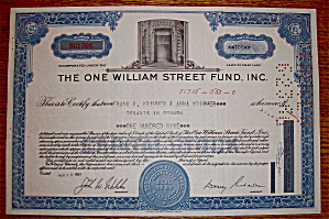 1963 One William Street Fund Inc. Stock Certificate (Image1)