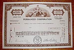 1971 Permaneer Corporation Stock Certificate (Image1)