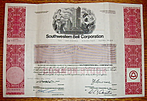 1984 Southern Bell Corporation Stock Certificate (Image1)