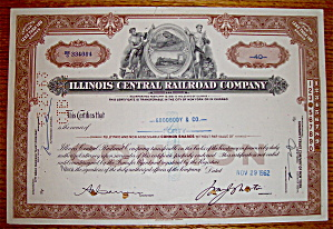 1962 Illinois Central Railroad Company Stock (Image1)