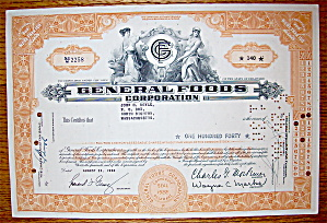 1960 General Foods Corporation Stock Certificate (Image1)