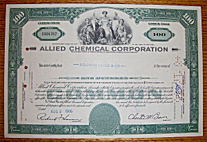 1966 Allied Chemical Corporation Stock Certificate (Image1)