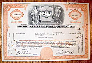 1967 American Electric Power Company Stock Certificate (Image1)