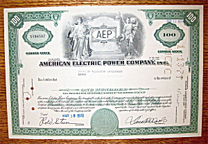 1970 American Electric Power Company Stock Certificate (Image1)