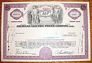 1971 American Electric Power Company Stock Certificate (Image1)